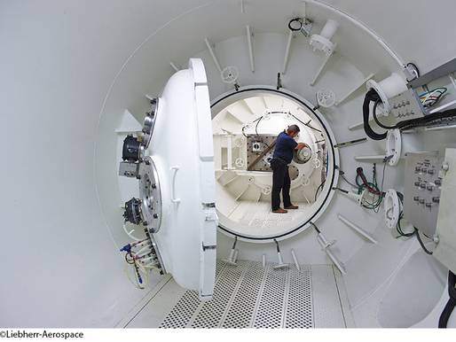 ©Liebherr-Aerospace – Altitude chamber at Liebherr-Aerospace Toulouse SAS which is used to simulate pressure conditions that prevail in high altitudes.